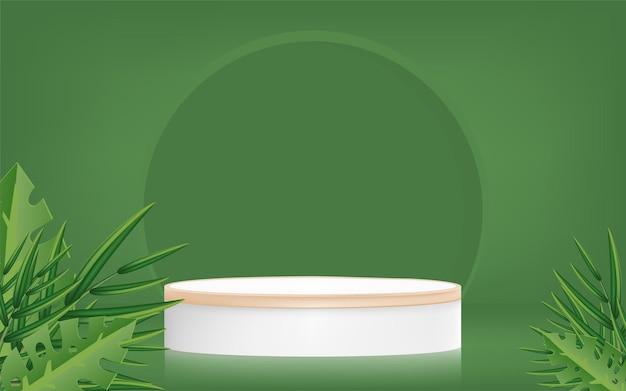 Promotion de bannière de produit avec podium et feuilles de palmier sur fond vert