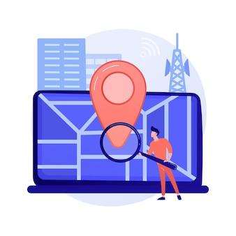 Promotion basée sur l'emplacement. logiciel de géolocalisation, application gps en ligne, système de navigation. restriction géographique. homme à la recherche d'adresse avec illustration de concept de loupe