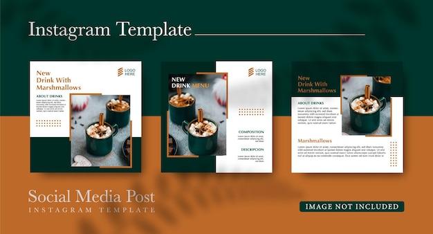 Promotion de boissons sur les réseaux sociaux et modèle de conception de publication instagram