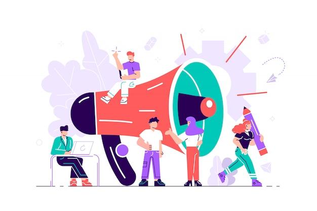 Promotion commerciale, publicité, appel via le klaxon, alerte en ligne. illustration de style plat pour page web, médias sociaux, documents, cartes, affiches. groupe de personnes criant sur mégaphone.