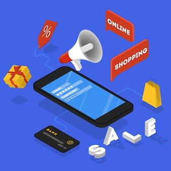 Promotion dans le concept internet. annonce publique de la vente et de la promotion commerciale. illustration