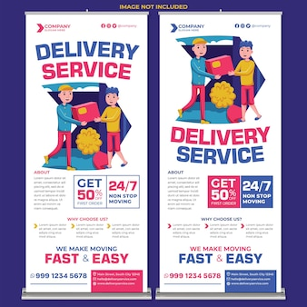 Promotion du service de livraison roll up banner print template in flat design style
