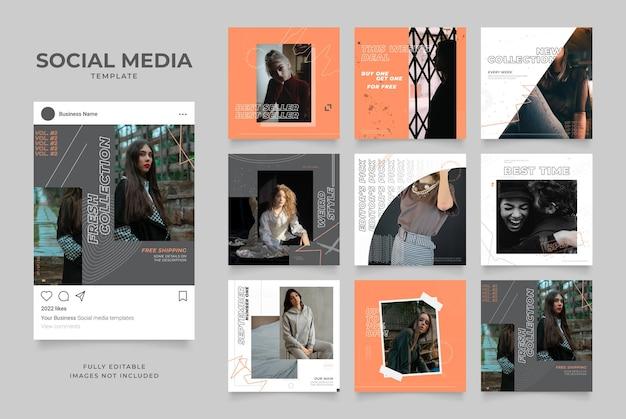Promotion d'entreprise de blog de bannière de modèle de médias sociaux. affiche de vente organique de cadre de poste carré instagram et facebook entièrement modifiable. fond de vecteur grunge gris orange blanc
