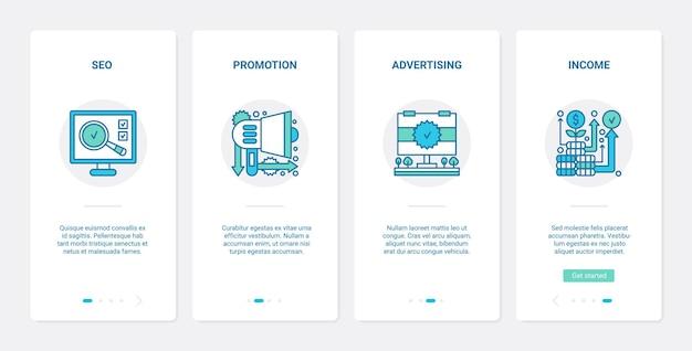 Promotion D'entreprise En Ligne Seo Technologie Ux Ui Intégration De L'écran De La Page De L'application Mobile. Vecteur Premium