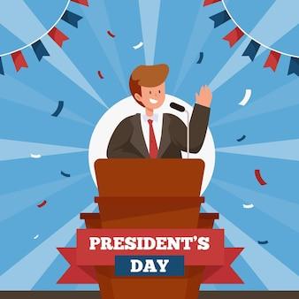 Promotion de l'événement de la journée du président avec illustration