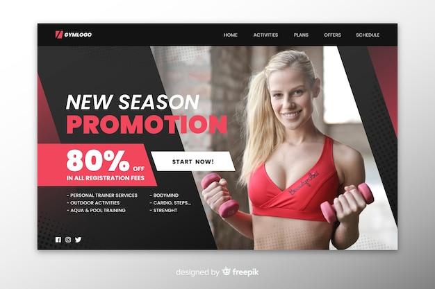 Promotion de gym avec page d'atterrissage avec photo
