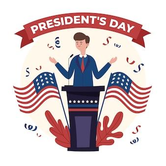 Promotion de la journée du président dessinée avec un homme