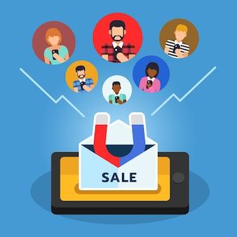 Promotion marketing par e-mail attirant le client de l'audience