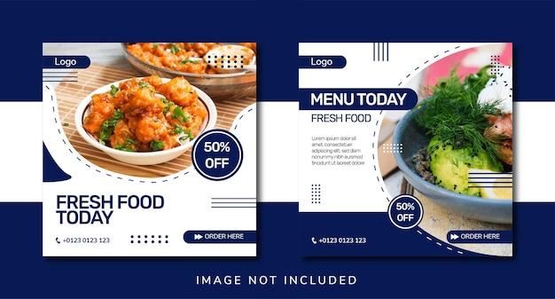 Promotion des médias sociaux alimentaires et conception de bannières instagram