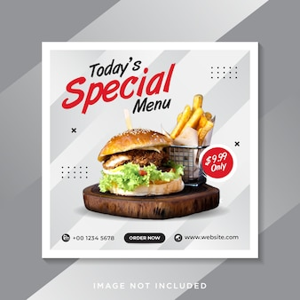 Promotion des médias sociaux alimentaires et publication de la bannière instagram