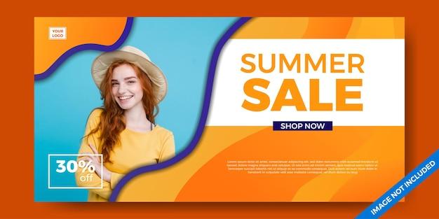 Promotion des médias sociaux du modèle de bannière d'offre de vente d'été