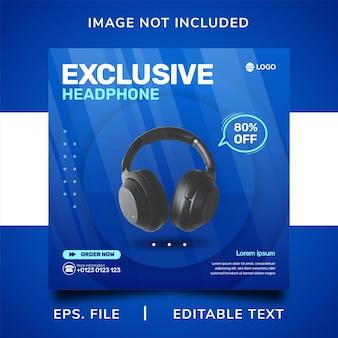Promotion des médias sociaux de vente d'écouteurs et conception de modèle de publication de bannière instagram
