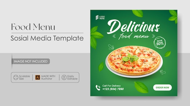 Promotion des médias sosial pizza food et modèle de conception instagram