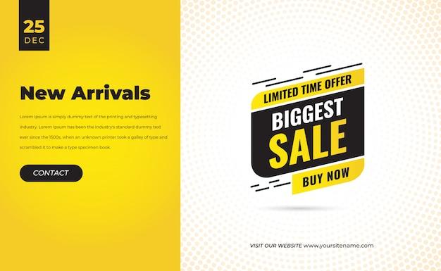 Promotion de modèle de bannière de remise de vente flash moderne jaune avec toute nouvelle étiquette d'étiquette de prix de remise d'arrivée