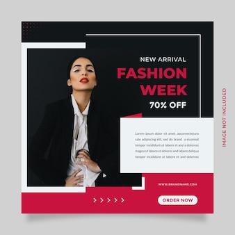 Promotion de modèle de publication et de modèle de bannière sur les médias sociaux de vente de mode avec la couleur rose noire