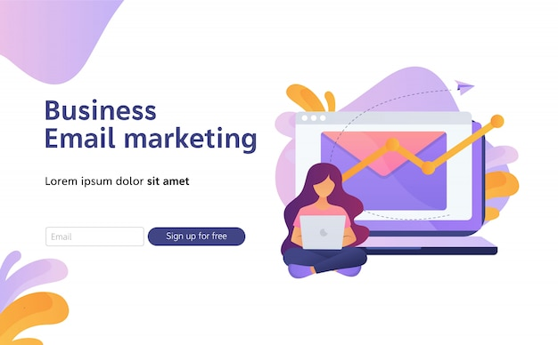 Promotion numérique de la newsletter, illustration plate de marketing par courriel pour la page de destination
