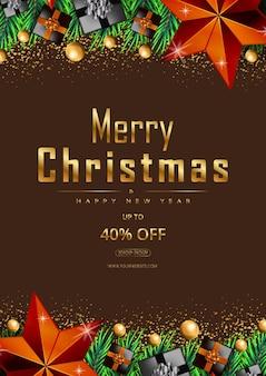 Promotion d'offre d'affiches de joyeux noël avec des étoiles dorées et des éléments de noël réalistes