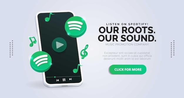 Promotion de page d'entreprise avec logo spotify et mobile