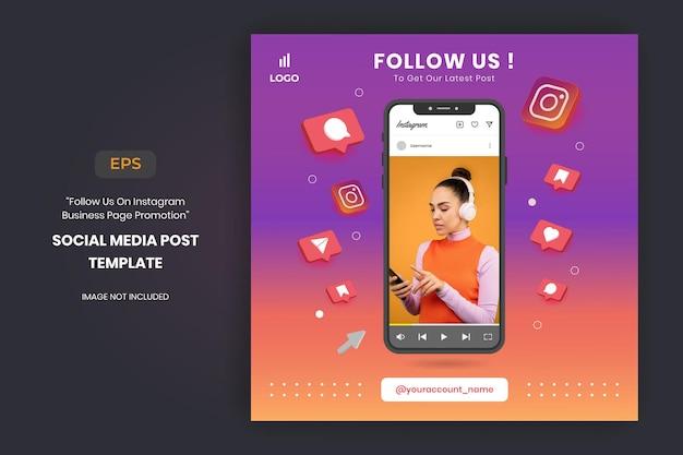 Promotion de la page instagram business et modèle de publication sur les réseaux sociaux