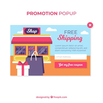 Promotion pop up template avec un design plat