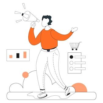 Promotion de produit shopping illustration ligne plate