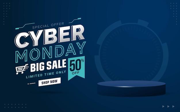 Promotion de remise de bannière de vente du cyber lundi avec un modèle de scène de podium de produit vierge