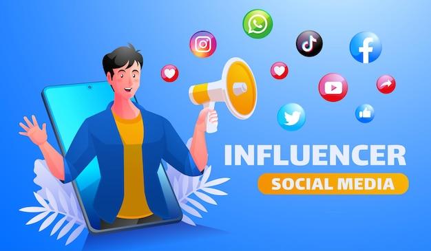 Promotion sur les réseaux sociaux avec mégaphone