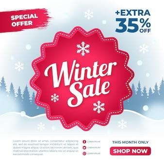 Promotion des soldes d'hiver avec des éléments dessinés à la main