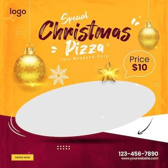 Promotion spéciale du menu des pizzas de noël sur les médias sociaux modèle de bannière de publication instagram