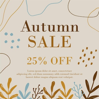 Promotion de vente d'automne dessinée à la main