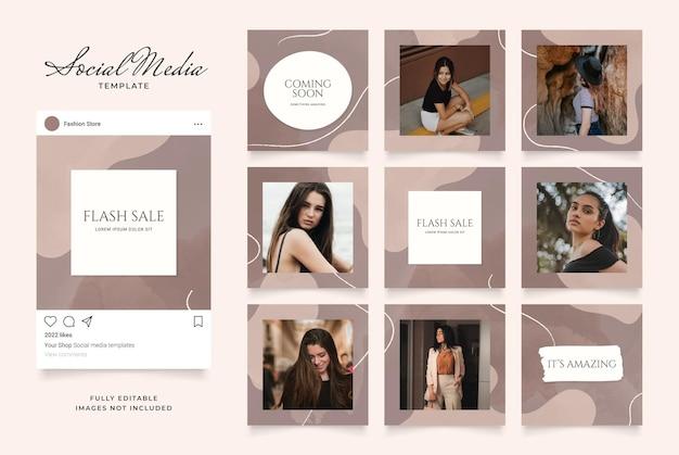 Promotion de vente de bannière de modèle de médias sociaux. puzzle de cadre de poteau carré instagram entièrement modifiable.