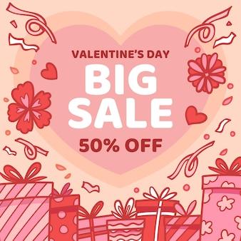 Promotion de vente dessinée pour la saint-valentin