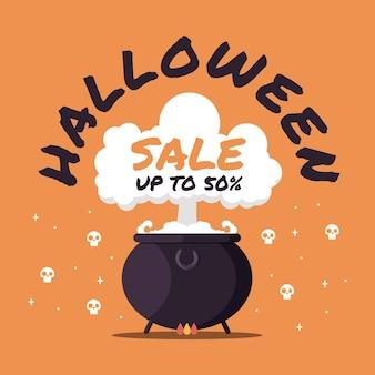 Promotion de vente halloween design plat