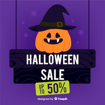 Promotion de vente halloween dessiné à la main