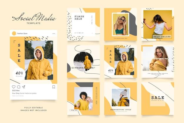 Promotion de vente de mode de blog de bannière de modèle de médias sociaux.
