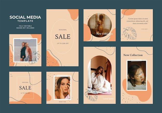 Promotion de vente de mode de blog de modèle de médias sociaux. affiche de vente organique de cadre de poste carré instagram et facebook entièrement modifiable. fond de vecteur de bannière publicitaire vert orange marron