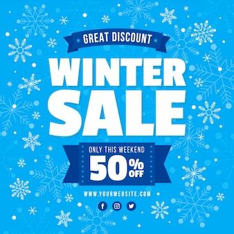 Promotions de soldes d'hiver avec des flocons de neige