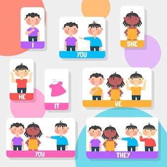 Pronoms sujets anglais avec enfants