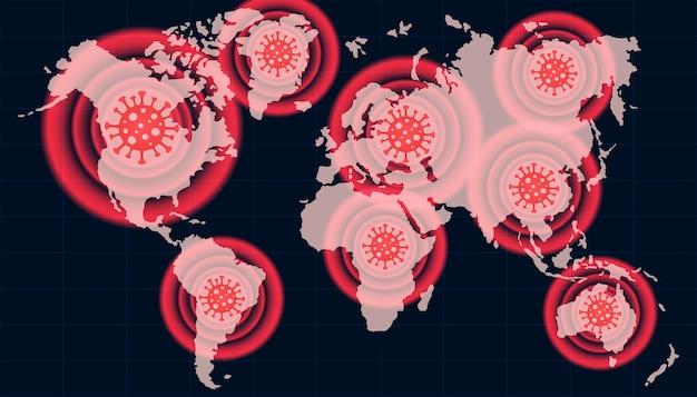 La propagation du nouveau coronavirus covid2019 les signaux d'avertissement de virus dangereux montrent une tache de coronavirus