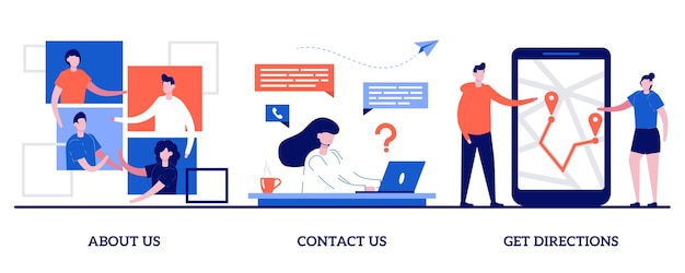 À propos de nous, contactez-nous, obtenez des directions. ensemble d'informations sur l'entreprise, menu du site web, page web de démarrage