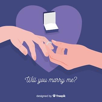 Proposition de mariage et concept d'amour
