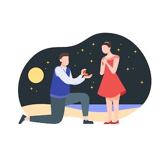 Proposition sur une plage à la nuit étoilée
