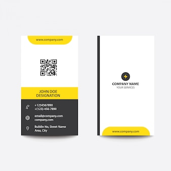 Propre minimal jaune et noir carte de visite
