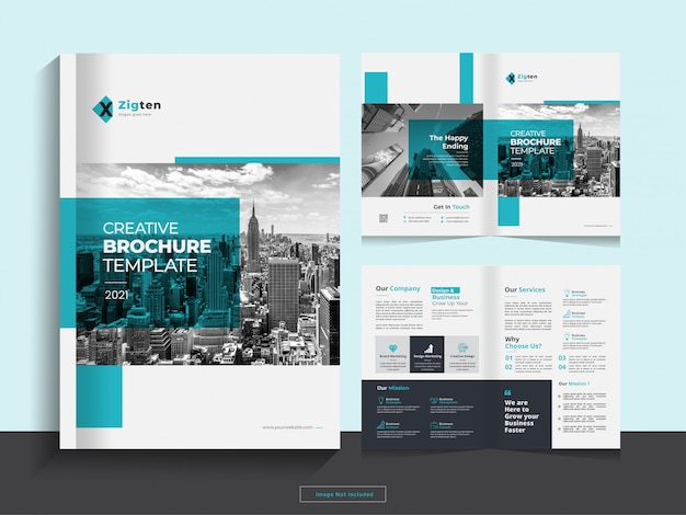 Propre modèle de conception de brochure d'entreprise double pli au format a4.