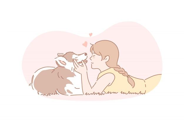 Propriétaire, chien, animal de compagnie, amitié, concept de soins