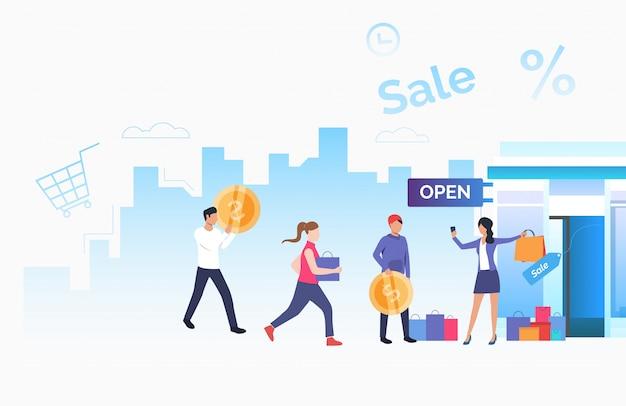 Propriétaire de magasin invitant des clients bannière