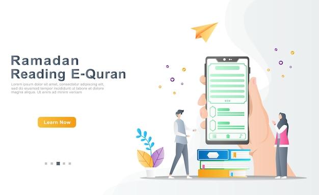 Le propriétaire présente l'application de l'apprentissage de la lecture e-quran en ligne, les femmes reconnaissantes prient le concept d'illustration