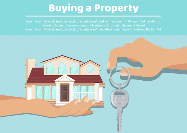 Propriétaire remettant les clés du locataire, modèle de bannière
