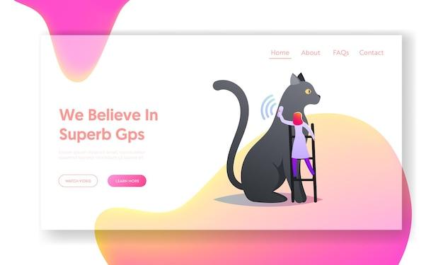 Propriétaire de soins de l'animal de compagnie, modèle de page de destination technologique