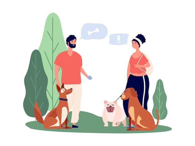 Propriétaires d'animaux domestiques. gens qui promènent des animaux de compagnie, homme et femme avec des chiens personnages de couple heureux. jeu avec des animaux et illustration vectorielle de communication. homme et femme, propriétaire de personnes avec chien